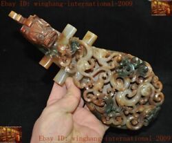 Rare Chinese Han Dynasty Hetian Jade Carved Animal Dragon Statue Ruyi With Hook