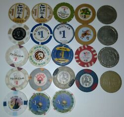 Lot Of 23 Vintage Las Vegas Casino Chips And Gaming Tokens