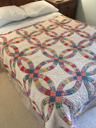 Double Wedding Ring Antique Quilt Twin Size Feed Sack Prints 18925