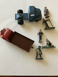 Vintage Lot Of 5 Metal Figures Plus 1 Dinky Toys And 1ralstoy Diecast Trucks Used
