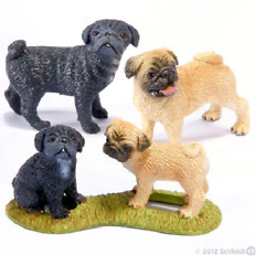 Lot Of 3 Schleich Pug Family Black Female 163829 Male Fawn 16381 Puppy 163836