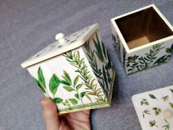 New Handmade Set Of Two Decoupage Wooden Storage Boxes Spices Flowers