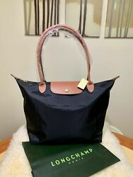 Brand New Longchamp 1899 Le Pliage Nylon Tote Handbag Black bag Large $39.99