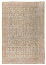 9.5x12.7 Ft Vintage Hand Knotted Oushak Rug In Soft, Muted Colors