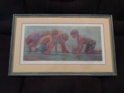 Clams Signed Serio-lithograph Lucelle Raad - Kids Playing Coastal Beach Art