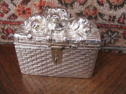 Antique Silver Plated Money Bank Money Box Dogs In Box Akandc Vienna 1900