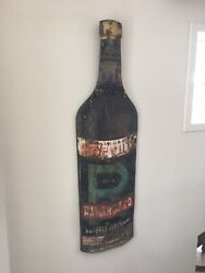 Antique Rabarbaro Ricevuti Large Painted Tin Sign Height 7 Ft +