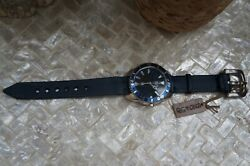 Nwt Uno De 50 Handcrafted Blue Leather Silver Large Face Watch Retired