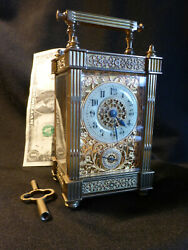 Antqe 8 Day Carriage Clock 1830/40 Timeandalarm French Ornate Veryrare Ex Cond