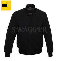 Menand039s Varsity Letterman Baseball All Black Wool Jacket With Black Knitted Strips