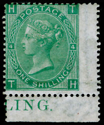 Sg101 1s Green Plate 4 Nh Mint. Cat Andpound2850+. Marginal Inscription. Th