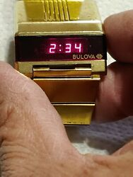 Bulova Computron Led Drivers Watch Gold Filled Case And Band 1976 Good...