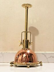Nautical New Marine Brass And Copper Hanging Mount Light With Pipe Stand Lot Of 10