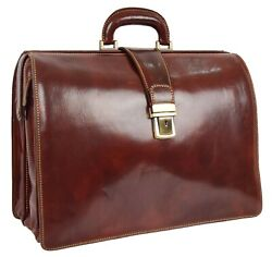 Leather Briefcase Doctors Lawyers Gladstone Work Classic Bag Ashford Brown