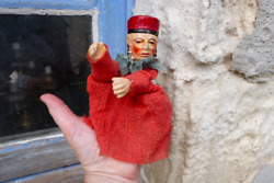 Antique 1900/1930 French Puppet Compo Paper Mache Head Punch And Guignol /judge