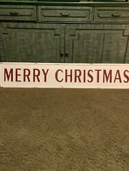 Large Metal Embossed Vintage-style Merry Christmas Sign White W/ Red Letters