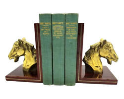 Vintage Horse Head Brass Bookends Vintage Wood Set Of Two