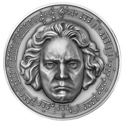 Rare Beethoven 250 Years 3oz Silver Coin 3000 Francs Cameroon 2020 W/diamond