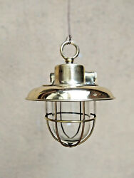 Old Antique Salvage Brass Nautical Hanging Light With Deflector Cover Lot Of 10