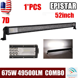 Tri-row 52''inch 675w 7d Led Light Bar Combo Driving Offroad Bumpersuv Roof Slim