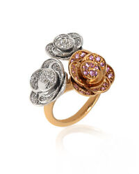 Mimi Milano 18k Rose And White Gold Diamond 1.11ct And Sapphire Ring Sz7.5 A506c8bz2