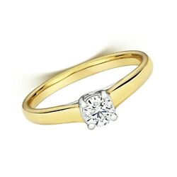 Modern Diamond Solitaire Ring Yellow Gold 0.35ct Size R-z Certificate Engagement