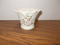Vintage Lefton China Flower Rose Pink Vase Dish Bowl Hand Painted From 1950's