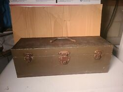 Antique 1900and039s All Metal Tool Box / Chest / Machinist Collectible