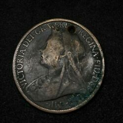1899 Britain England British English Large Cent Penny Money Queen Victoria Hole