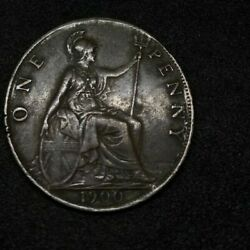 1900 Britain England British English Large Cent Penny Money Queen Victoria 02