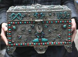 Rare Old Wire Inlay Tibet Silver Turquoise Coral Godess 8 Treasure Box Container