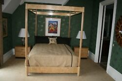 Henredon Scene Two Collection Burled Olive Canopy Bed With 2 Nightstands