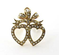 Antique Victorian 14k Yellow Gold Double Heart Moonstone Pearl Pendant Pin 0346