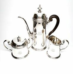 Vintage And Co Sterling Silver 3 Piece Coffee Set, With Monogram 6271