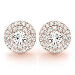 1.26 Ct Round Moissanite Forever One And Diamond Halo Earrings