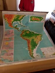 Vintage 1940and039s Latin American Pull Down School Map On Spring Roller