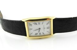 Baume And Mercier 18k Yellow Gold Menand039s Tank Curvex Watch 17605 White Dial 8346
