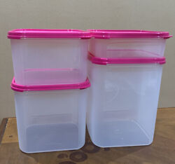 New Tupperware Modular Mates Square 4 Pc Set-in Clear / Pink Seals Color