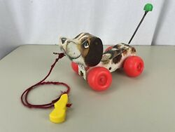 1965 Vintage Fisher Price Little Snoopy Wood Dog Walk Pull Along 693 Toy