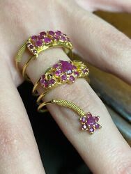 Vintage 22k Yellow Gold With Ruby Stones Coiled Snake Shape Ring Size 9.5 - 8.0