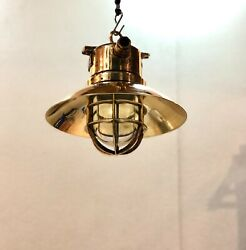 Old Original Archaic Antique Ship Brass Wiska Hanging Light With Shade Lot Of 10
