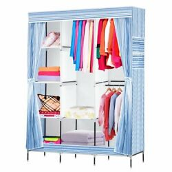 69quot; Portable Multi Color Closet Wardrobe Clothes Storage Space Organizer Fabric