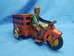 Marx 1930s Marx Speed Boy 4 Delivery Motorcycle Wind Up Toy Works
