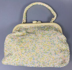 Womens Vintage Beaded Evening Bag Clutch Wedding Party Purse Pastel CUTE $24.99