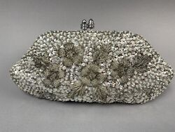 Womens Vintage Silver Beaded Sequin Evening Bag Clutch Wedding Party Purse Small $24.99