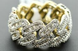 10k Solid Yellow Gold And Si Baguette Diamond 2.3 Ct Mens Cuban Link Ring Sz 10