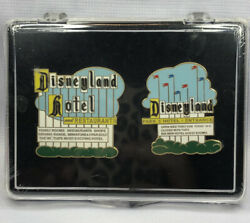 Disney Dlr - Cast Exclusive - Disneyland Marquee And Hotel Sign Le 2 Pin Set Mib