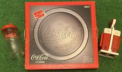 Vintage Lot Of 90s Coca Cola Products - Round Tray Sugar Jar Salt Pepper Shakers