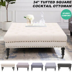 34 Inch Tufted Square Cocktail Ottoman Wheels Foot Rest Seating For Living Room