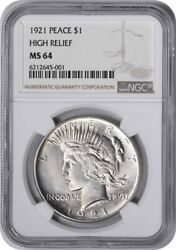 1921 Peace Silver Dollar Ms64 Ngc
